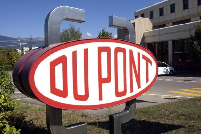 A DuPont logo is pictured on the research center in Meyrin near Geneva