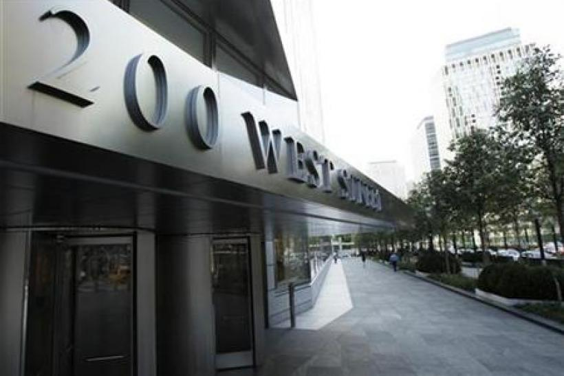 A sign shows the address of the Goldman Sachs headquarters building in New York