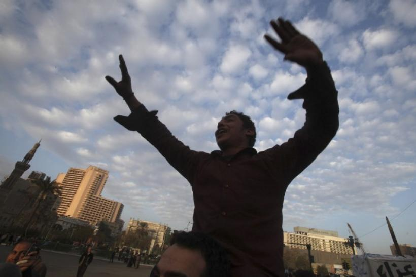 A protester shouts anti-Mubarak slogans during an anti-government protest in Tahrir square in Cairo February 1, 2011.