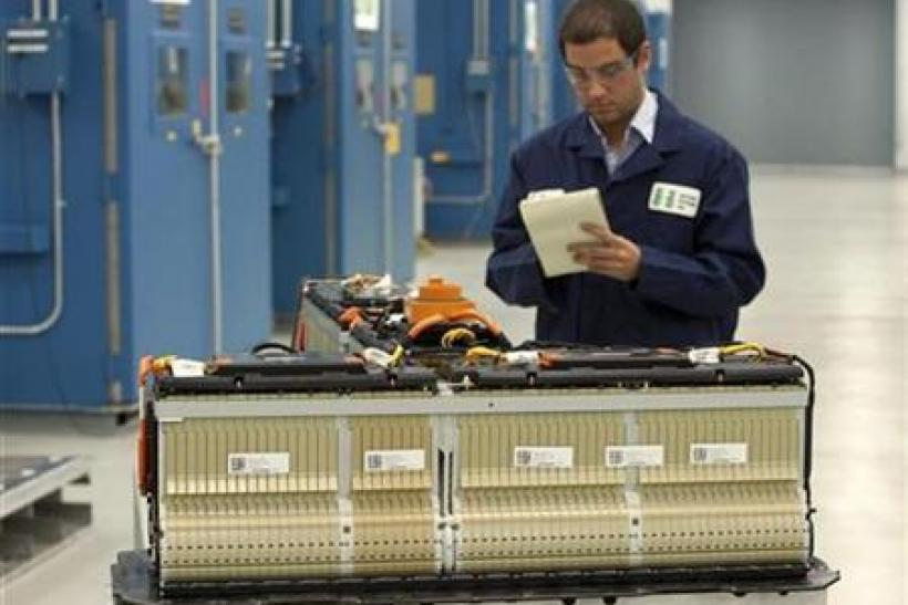 A battery engineer checks a Chevrolet Volt battery at the General Motors Global Battery Systems Lab in Warren, Michigan