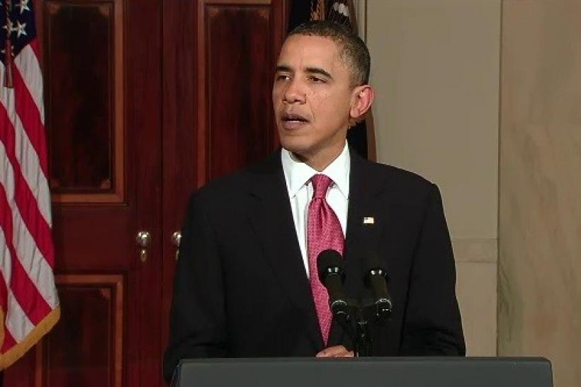 "In a video feed provided by the White House, President Barack Obama delivers remarks on the situation in Egypt on February 1, 2011. Obama called for an orderly and peaceful transition to a new government that must ""begin now."""
