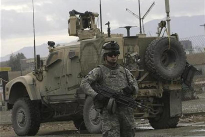 A U.S. soldier stands guard