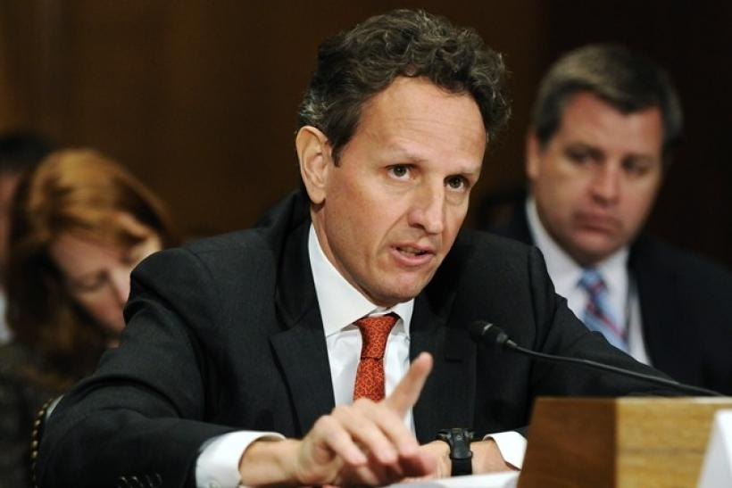 U.S. Treasury Secretary Timothy Geithner gestures as he delivers his testimony before the Congressional Oversight Panel created to oversee the expenditure of the Troubled Asset Relief Program (TARP), on Capitol Hill in Washington, December 16, 2010.