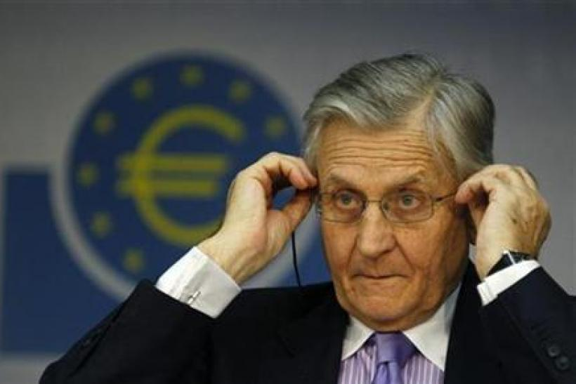Trichet President of ECB addresses the media during his monthly news conference at the ECB headquarter in Frankfurt