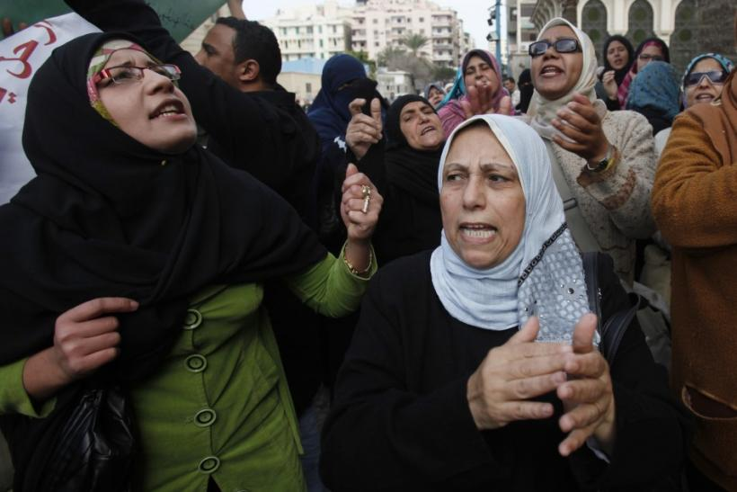Protesters chant anti-government slogans during mass demonstrations against Egypt's President Hosni Mubarak, in Alexandria