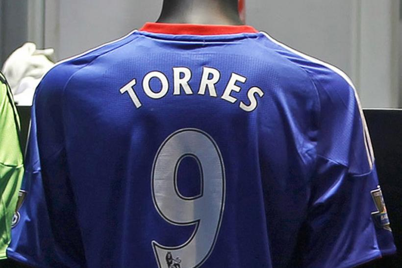 Chelsea soccer strip of the club's new signing, Fernando Torres, is displayed in the club shop at Stamford Bridge in London.