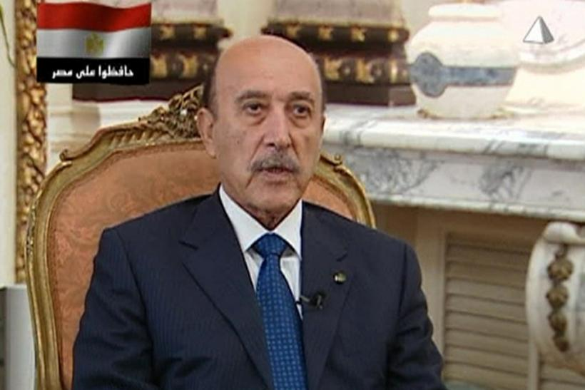 Egypt's Vice President Omar Suleiman talks in a pre-recorded interview on state television.