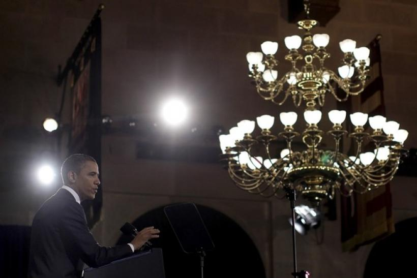 U.S. President Barack Obama addresses the U.S. Chamber of Commerce in Washington, February 7, 2011.