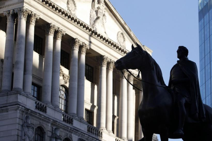 A statue is seen outside the Bank of England in the City of London February 8, 2011.