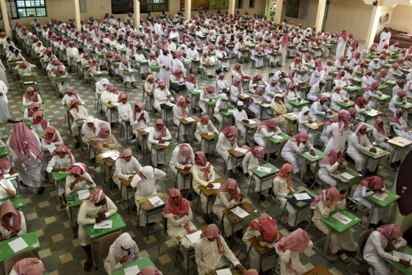 Secondary school students sit for an exam at the Abu Baker Al Arabi government school in Riyadh