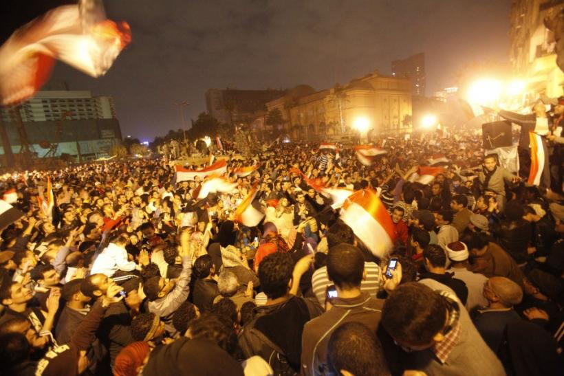 Egyptians celebrate Egyptian President Hosni Mubarak's resignation in Cairo's Tahrir Square