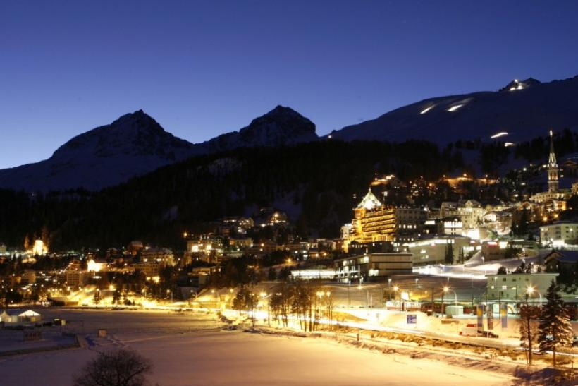 A night view shows the Swiss mountain resort of St. Moritz