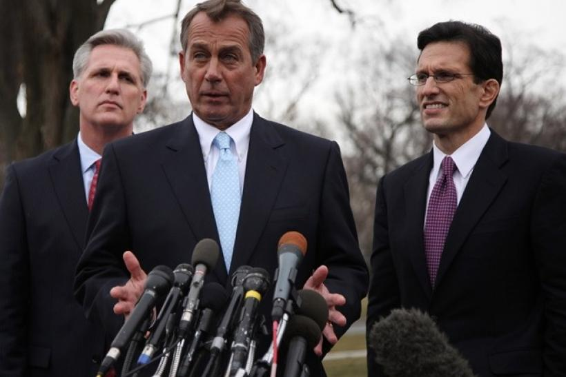 U.S. House Speaker John Boehner (C)(R-OH), House Majority Leader Eric Cantor (R)(R-VA) and Majority Whip Kevin McCarthy (R-CA) speak to the press outside the White House following their lunch meeting with U.S. President Barack Obama, February 9, 2011.