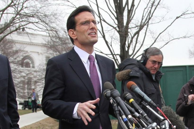 U.S. House Majority Leader Eric Cantor (R-VA) speaks to the press alongside U.S House Speaker John Boehner (L)(R-OH) and Majority Whip Kevin McCarthy (R-CA) following their lunch meeting with U.S. President Barack Obama at the White House in Washington, F