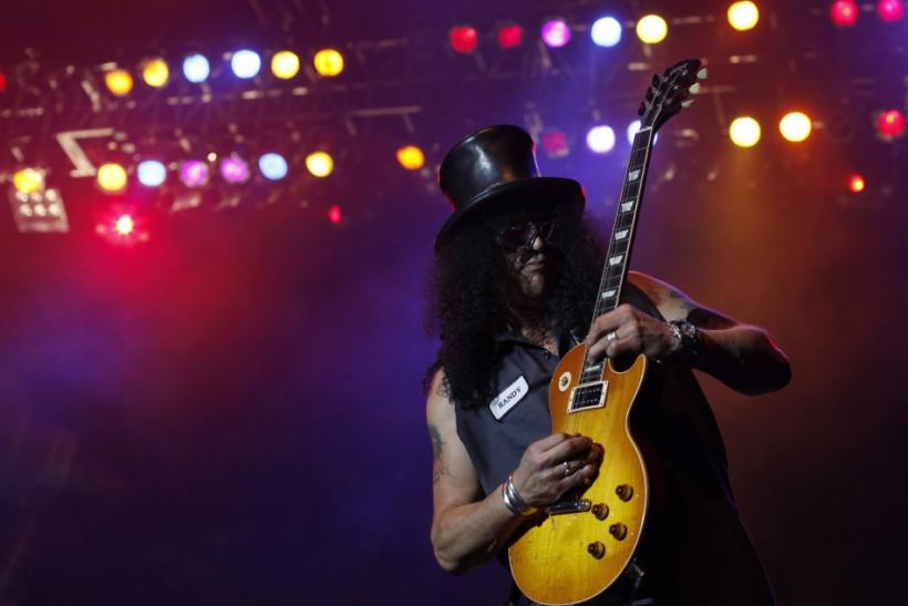 Former Guns N' Roses guitarist Saul Hudson, better known by his stage name Slash, performs during his concert tour in Jakarta