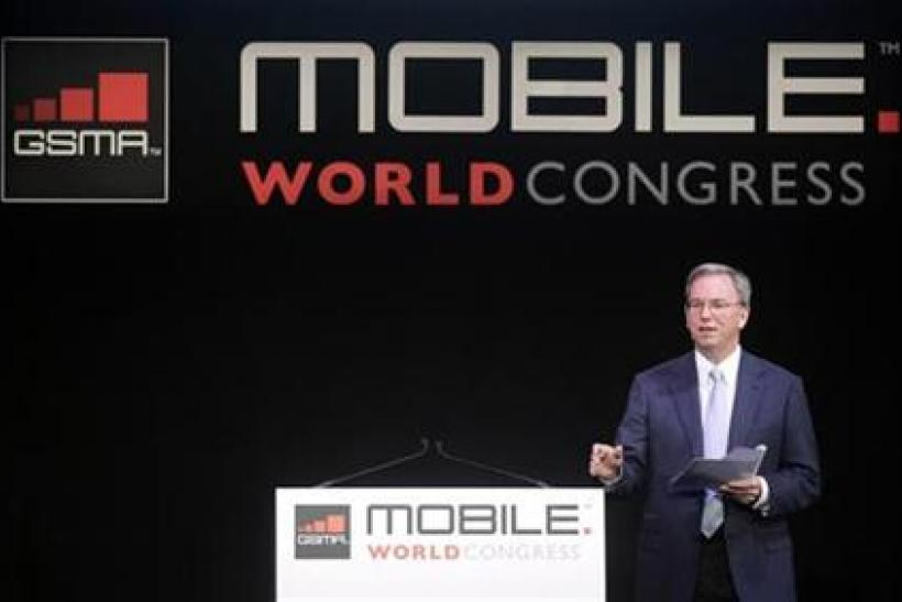 Google CEO Eric Schmidt delivers a speech at the GSMA Mobile World Congress in Barcelona