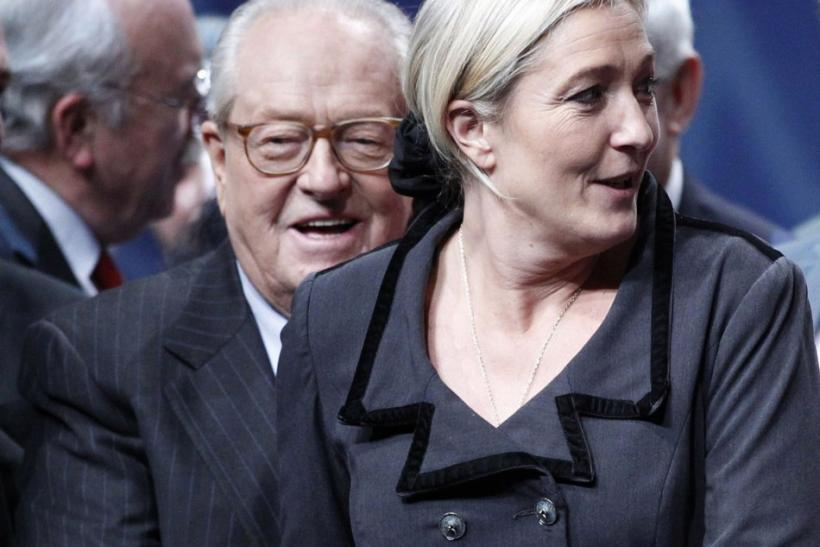 Marine, newly-elected France's far-right National Front political party leader, and Le Pen (L), former party leader, attend the National Front annual congress in Tours