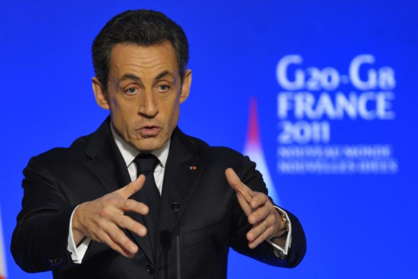 France's President Sarkozy speaks to G20 finance ministers and central bank governors at the Elysee Palace in Paris