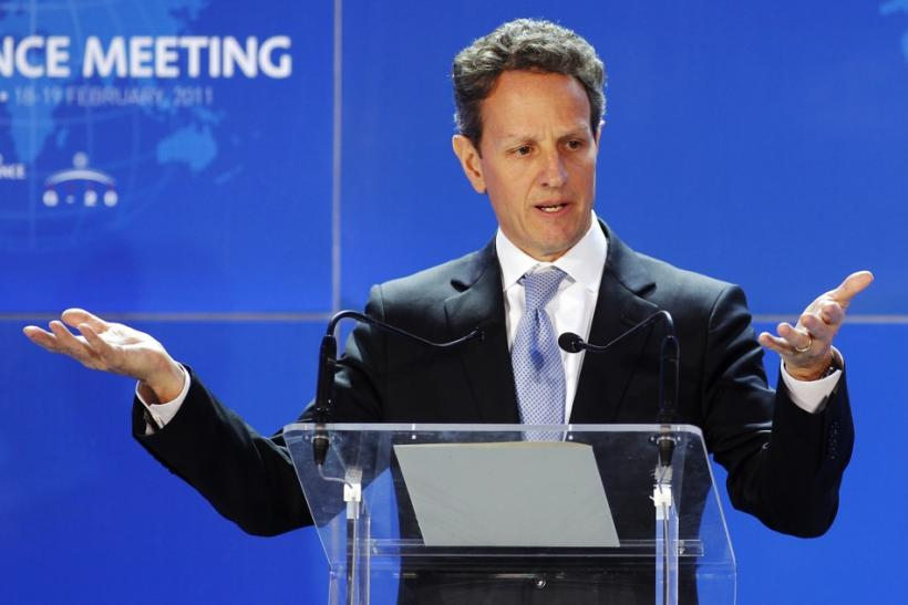 U.S Treasury Secretary Geithner addresses a news conference at the end of the G20 finance meeting in Paris