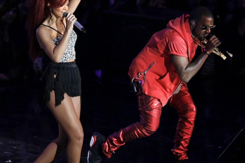 Singers Rihanna and Kanye West perform during the half-time of the NBA All-Star basketball game in Los Angeles