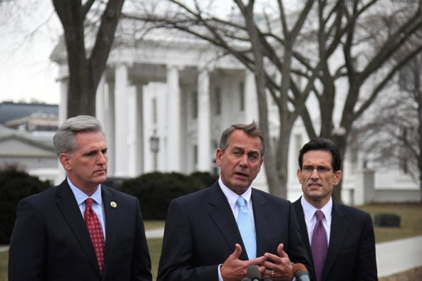 U.S House Speaker John Boehner (C), House Majority Leader Eric Cantor (R-VA) and Majority Whip Kevin McCarthy (R-CA) speak to the press outside the White House following their lunch meeting with U.S. President Barack Obama, February 9, 2011.
