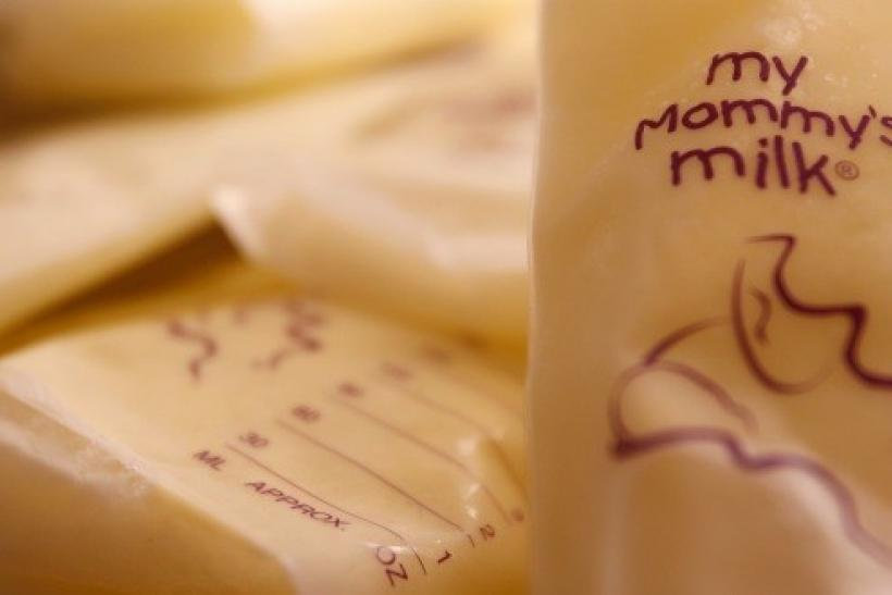 Human breast milk is seen in the refrigerator.