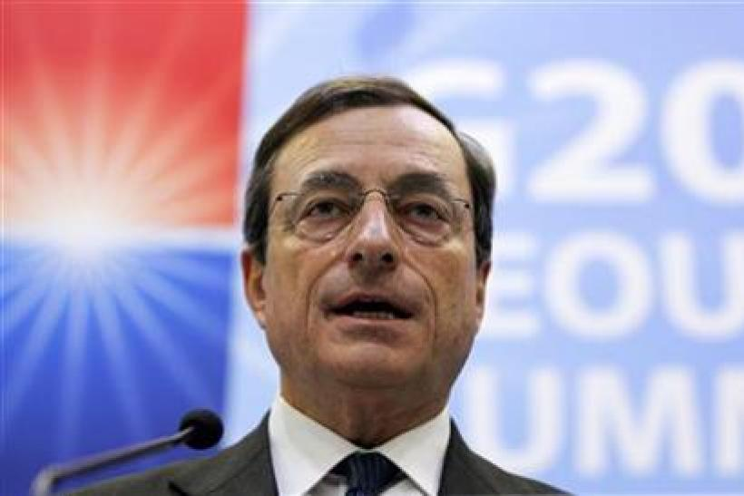 Mario Draghi speaks during a news conference at the G20 Summit in Seoul.