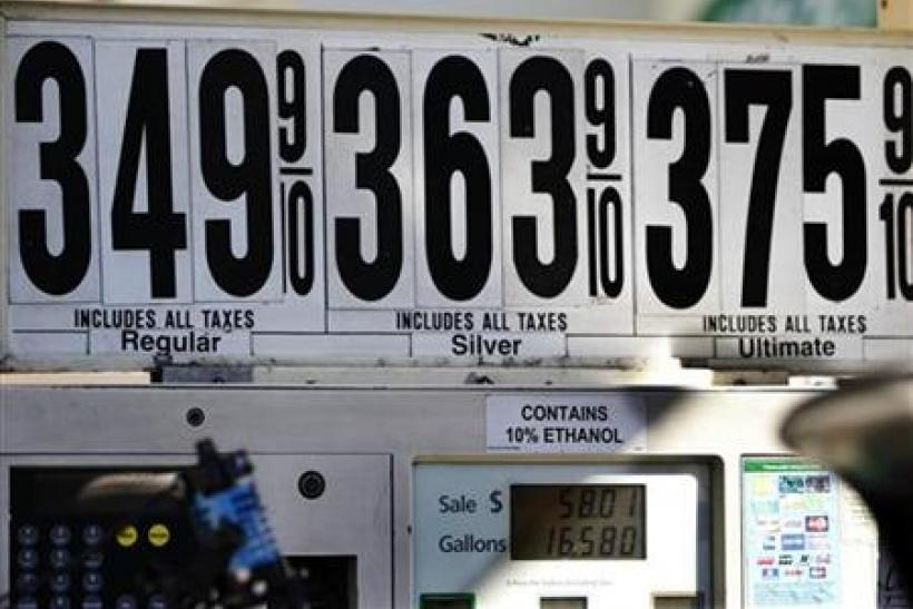 Gas prices are seen at a petrol station in New York