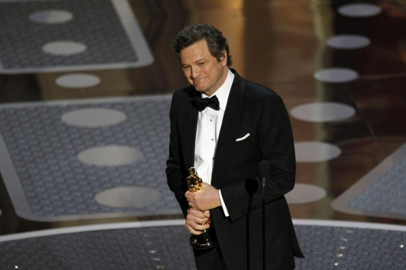 Colin Firth accepts the Oscar for best actor for his role in 'The King's Speech' during the 83rd Academy Awards in Hollywood