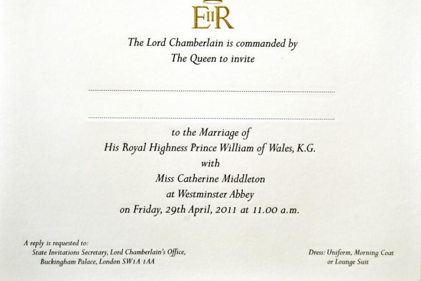A glance at the royal wedding invitation.