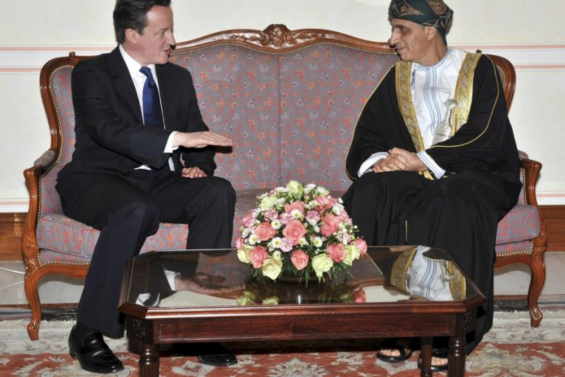 British Prime Minister David Cameron (L) talks with Omani Deputy Prime Minister for the Council of Ministers Sayyid Fahd bin Mahmoud al-Said during their meeting in Muscat February 23, 2011.