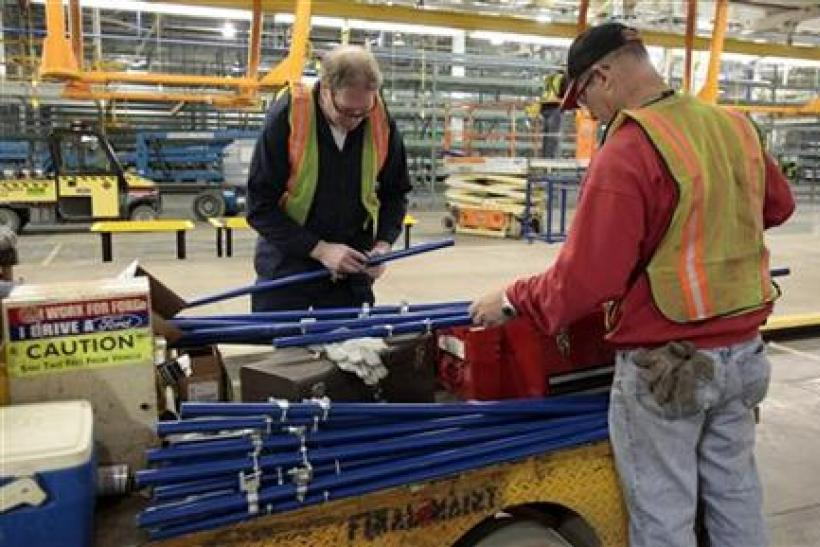 Ford Motor Co millwrights Larkin and Elstone assemble creforms at the retooled Michigan Assembly Plant in Wayne