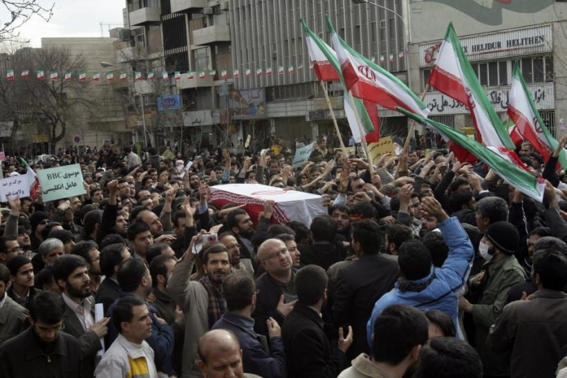 People take part in the funeral of Sanee Zhaleh, a student who was shot dead during an opposition rally on Monday, in Tehran February 16, 2011