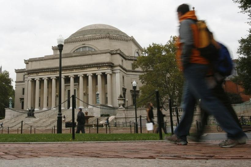 Students walk across the campus of Columbia University in New York