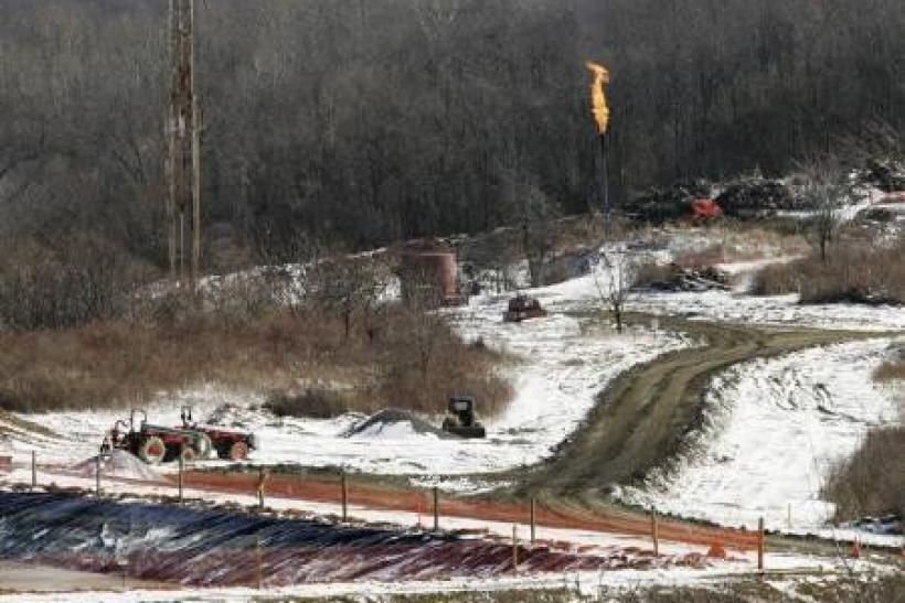 A gas drilling site on the Marcellus Shale is seen in Hickory, Pennsylvania.