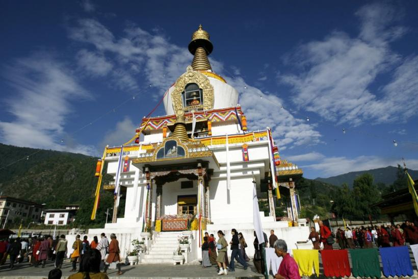 People visit the 'Dodrul Chorten' stupa in Thimphu, Bhutan