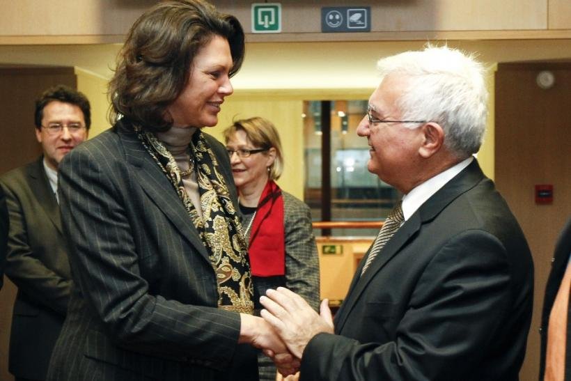 Germany's Agriculture Minister Aigner talks with EU Health and Consumer Policy Commissioner Dalli during an EU Agriculture and Fisheries Ministers' meeting in Brussels.