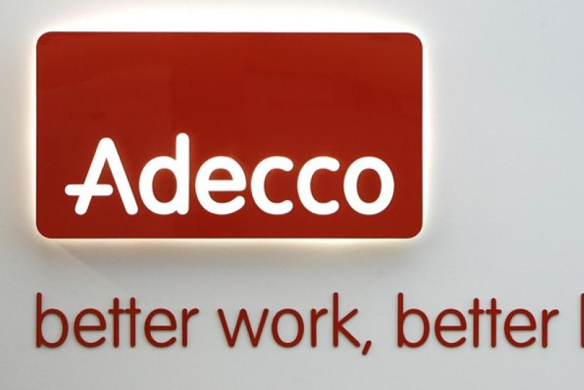 An Adecco logo is pictured at the company's headquarters in Glattbrugg
