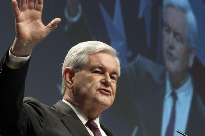 Former U.S. Speaker of the House Newt Gingrich addresses the 38th annual Conservative Political Action Conference (CPAC) meeting at the Marriott Wardman Park Hotel in Washington, February 10, 2011.