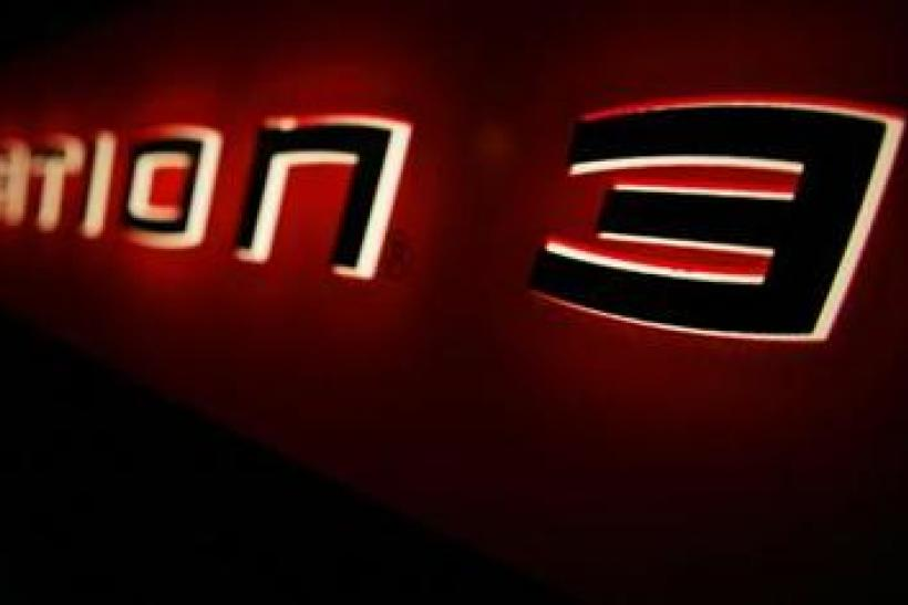 The logo of the Sony Playstation 3 is pictured at a party held by Sony celebrating the new Playstation 3 game console in Berlin