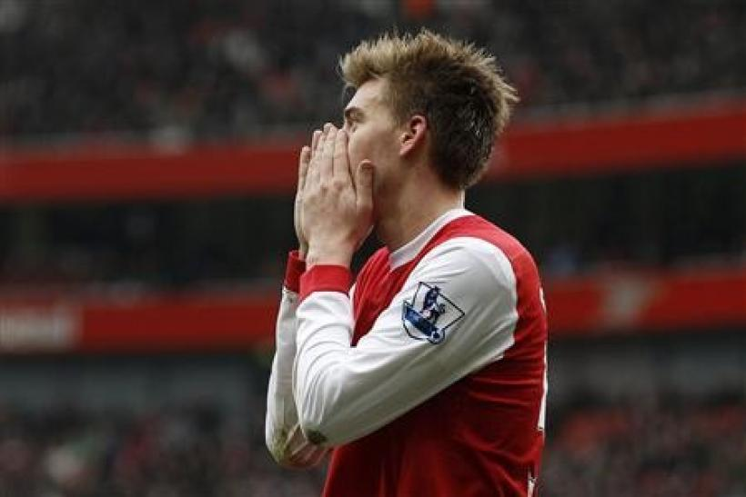 Arsenal's Nicklas Bendtner reacts during their English Premier League soccer match against Sunderland at Emirates Stadium in London March 5, 2011.
