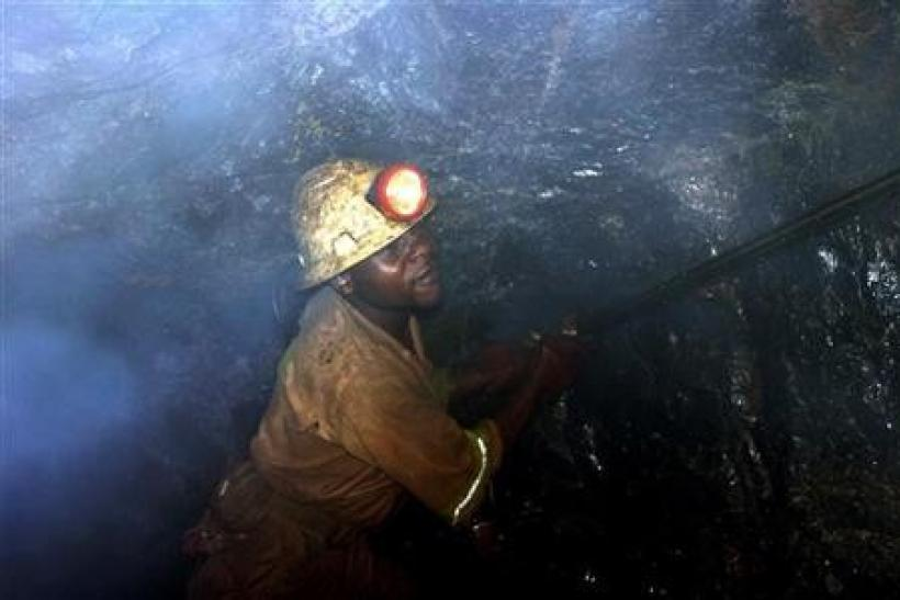 A miner on duty in Zambia