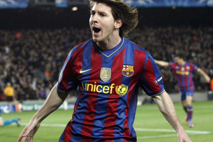 Messi celebrates one of his four goals in the 2010 UCL quarterfinal against Arsenal.