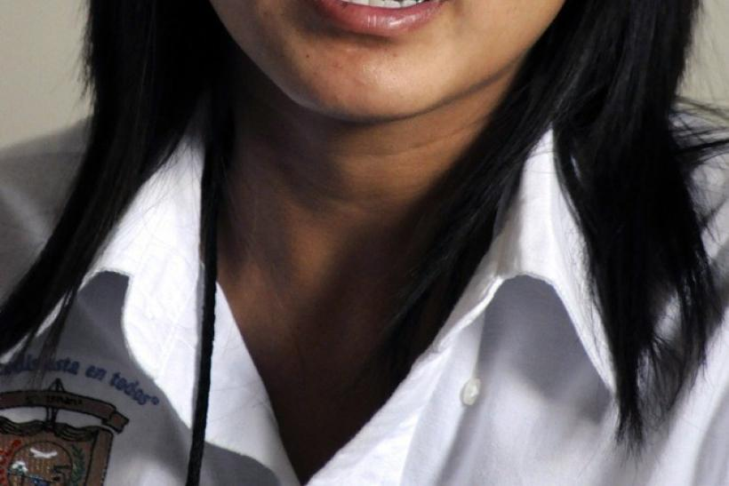 Marisol Valles Garcia talks to the media during a news conference in Praxedis G. Guerrero October 20, 2010.