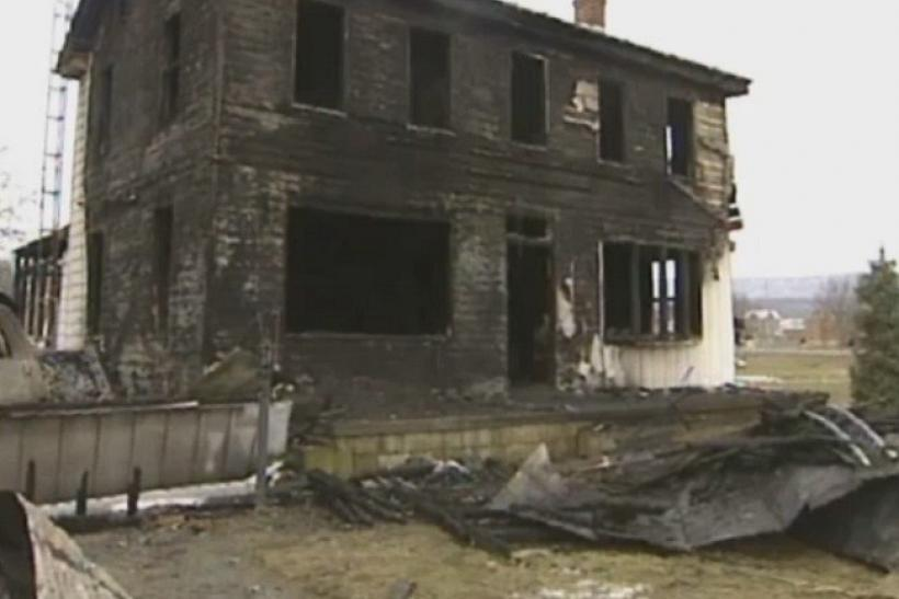 In a screenshot of a video provided by ABC27.com, a charred home is seen in Blaine, Pennsylvania on March 9, 2011.