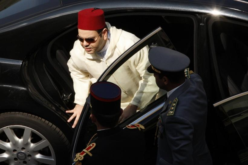Moroccan King Mohammed VI arrives at the funeral ceremony for late French author Druon in Paris