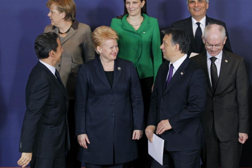 EU leaders take part in a family photo at an EU extraordinary leaders summit on Libya and North Africa, in Brussels
