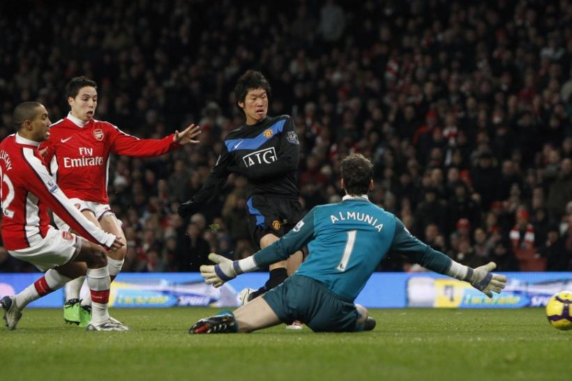 Manchester United's Park scores a goal during their English Premier League soccer match against Arsenal in London.