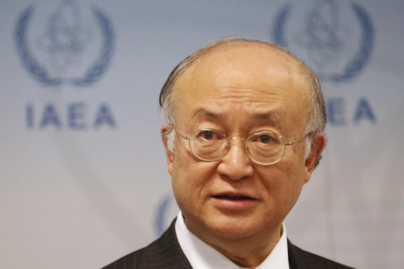 IAEA Director General Yukiya Amano briefs the media at the United Nations headquarters in Vienna