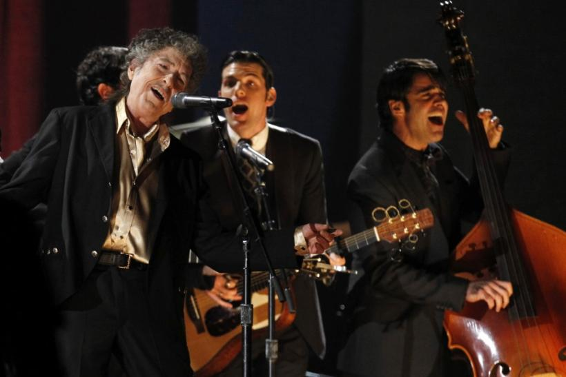 "Bob Dylan performs ""Maggie's Farm"" at the 53rd annual Grammy Awards in Los Angeles"